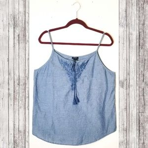 Ann Taylor Chambray Embroidered Cami
